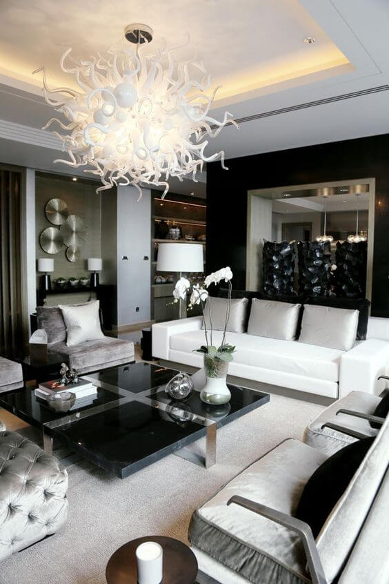 8 Luxurious Black and White Living Room Ideas 2
