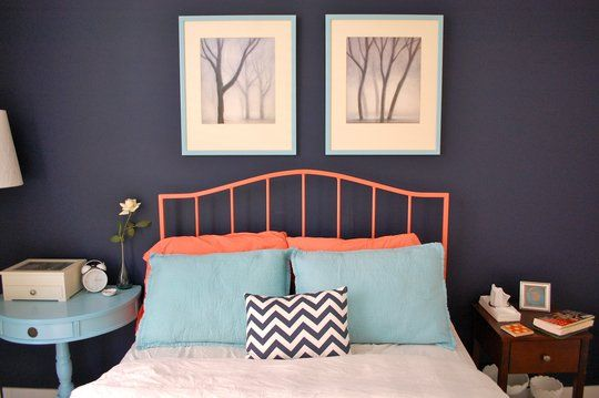 Navy Blue And Coral Bedroom Ideas 1