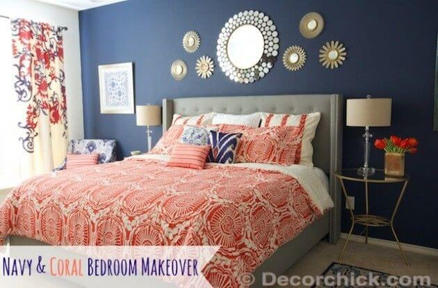 Navy Blue And Coral Bedroom Ideas 4