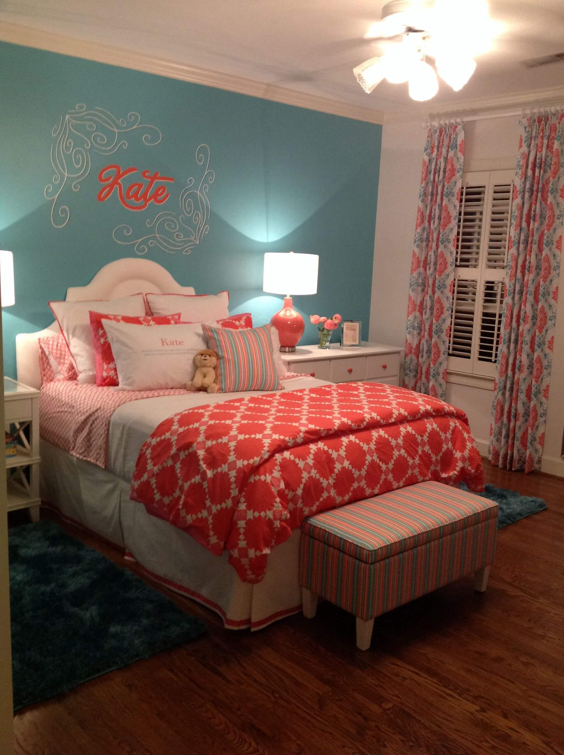 Teal And Coral Bedroom Ideas 1